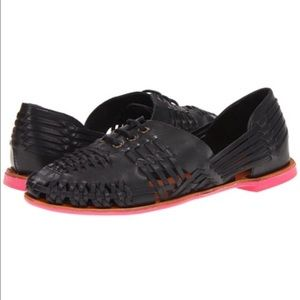 Dolce Vita black leather huaraches flats